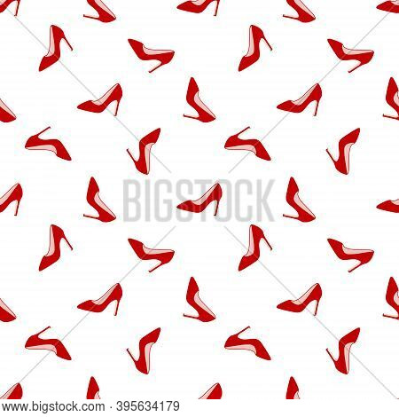 Glamorous Red Shoes Seamless Pattern. Design For Beauty Industry, Wrappers, Greeting Cards, Packagin