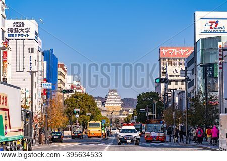 Himeji, Hyogo Prefecture, Japan - Dec 25 2019 : Cityscape Of Himeji In Sunny Day With Clear Blue Sky