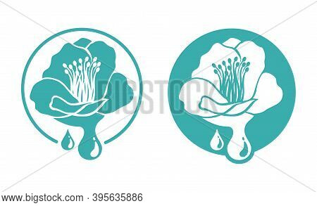 Camelia Japonica Extract - Tsubaki Oil Icon - Flat Monochrome Stamp With Wlower And Drop - Useful An