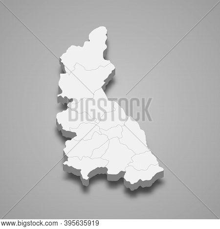 3d Isometric Map Of Cajamarca Is A Region Of Peru