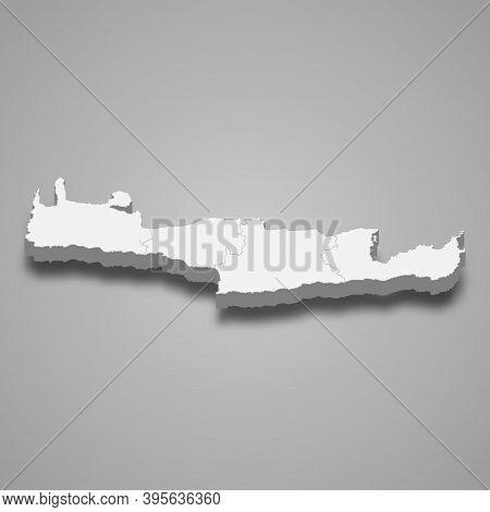 3d Isometric Map Of Crete Is A Region Of Greece
