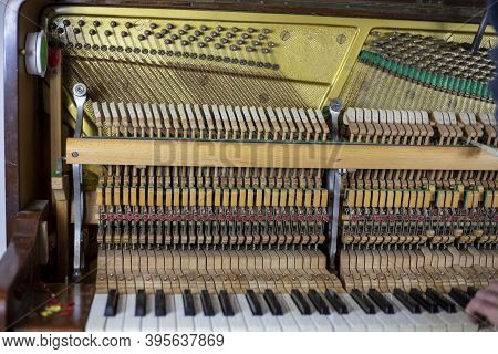 Disassembled Piano, Press The Keys, Listen To The Sound, Musical Instrument Tuner