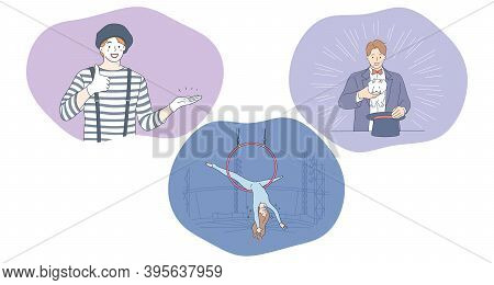 Circus, Performance, Clown, Show, Entertainment Concept. People Clown, Magician With Hat And Woman A