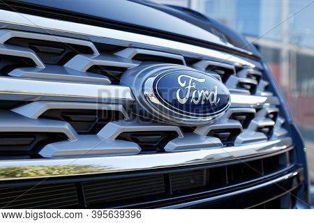 Ulyanovsk, Russia - September 23, 2018: Closeup Detail Photo Of Ford Logo On The Hood Of The Car For