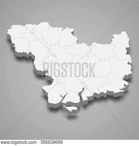 3d Isometric Map Of Mykolaiv Oblast Is A Region Of Ukraine