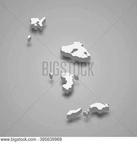 3d Isometric Map Of North Aegean Is A Region Of Greece