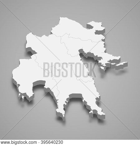 3d Isometric Map Of Peloponnese Is A Region Of Greece