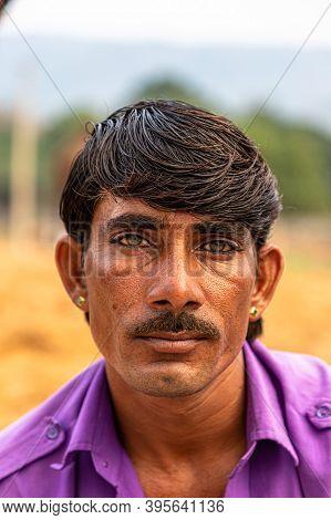November 2019 Pushkar,rajasthan,india. Portrait Of A Man,faces Of Rajasthan,faces Of Pushkar.