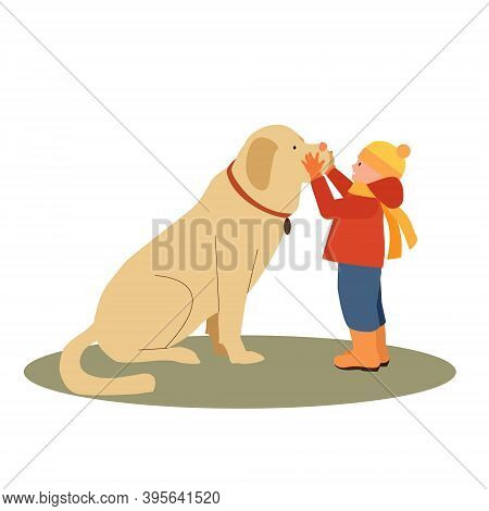 Little Boy And With Big Fluffy Brown Dog Friend, Companion.