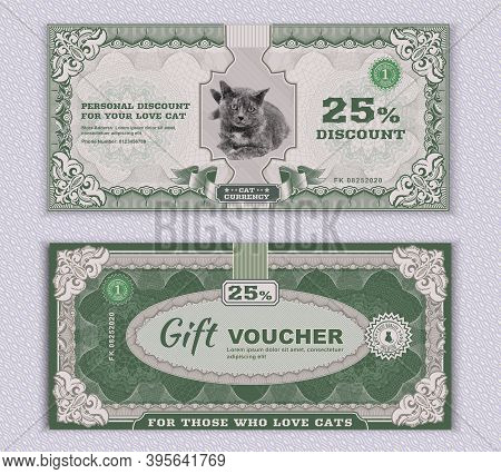 Vector Money Banknotes. Fake Money Illustration With Realistic Vector Cat, Floral Border. Classical