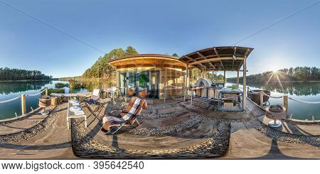 Full Spherical Hdri Panorama 360 Degrees Angle View On Wooden Pier Near House On Water On Lake In Fo