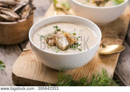 Homemade Mushroom Cream Soup With Sliced Dry Mushrooms. Top View.  Champignon Cream Soup