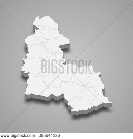3d Isometric Map Of Sumy Oblast Is A Region Of Ukraine