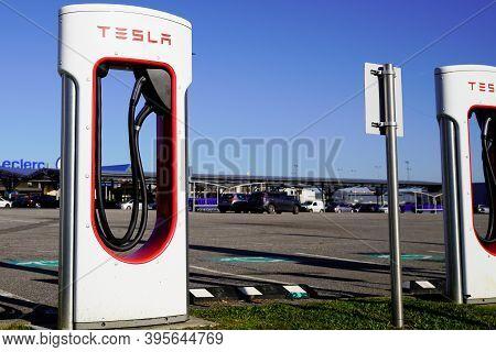 Bordeaux , Aquitaine / France - 11 11 2020 : Tesla Supercharger Car Point Station Reserved For Tesla