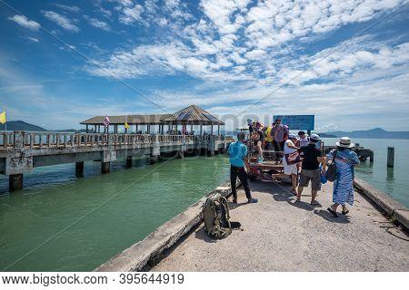 Ranong, Thailand - September 21, 2020 : View Of Koh Phayam Island Pier In Andaman Sea ,ranong Provin