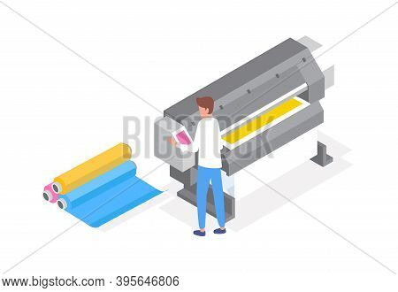 Professional Polygraphy Worker. Male Character Working With Plotter. Printing House Equipment For La