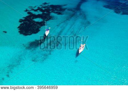 Aerial View Of Scenic Blue Lagoon Sakarun With Anchored Yachts, Dugi Otok Island In Croatia