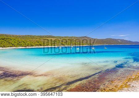 Aerial View Of Azure Turquoise Lagoon On Sakarun Beach On Dugi Otok Island, Croatia, Beautiful Seasc