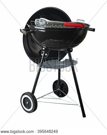 Barbeque (bbq) Grill With Cover Isolated On Whte