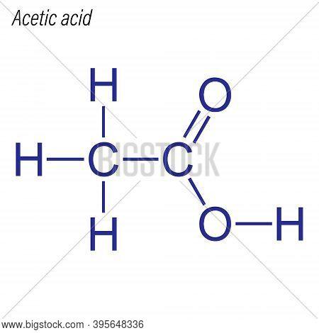 Vector Skeletal Formula Of Acetic Acid. Drug Chemical Molecule.