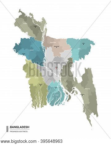 Bangladesh Higt Detailed Map With Subdivisions. Administrative Map Of Bangladesh With Districts And