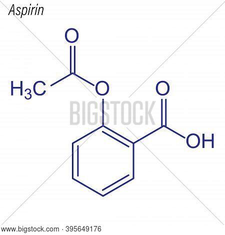 Vector Skeletal Formula Of Aspirin. Drug Chemical Molecule.