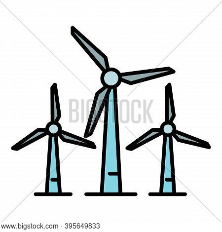 Wind Turbine Plant Icon. Outline Wind Turbine Plant Vector Icon For Web Design Isolated On White Bac