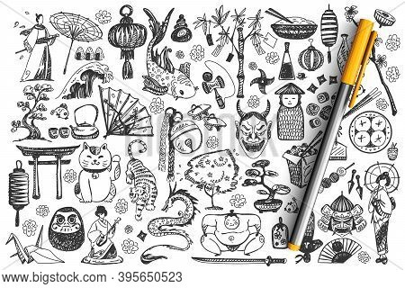 Japan Doodle Set. Collection Of Chalk Pencil Hand Drawn Sketches Templates Of Japanese Culture Archi