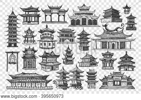 China Buildings Doodle Set. Collection Of Chalk Pencil Hand Drawn Of Chinese Culture Architecture An