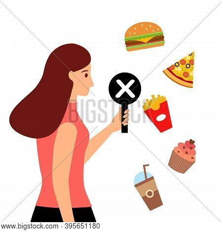 Stop Unhealthy Eating Habits Concept Vector Illustration On White Background. Woman Holding Prohibit