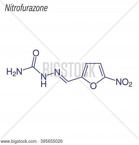 Vector Skeletal Formula Of Nitrofurazone. Antimicrobial Chemical