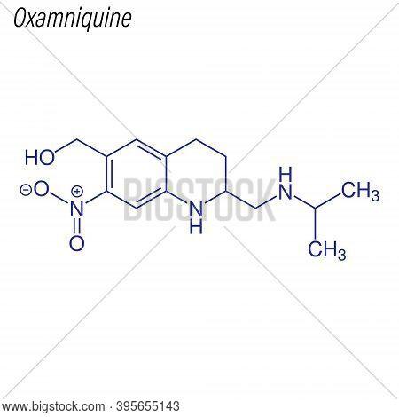 Vector Skeletal Formula Of Oxamniquine. Drug Chemical Molecule.