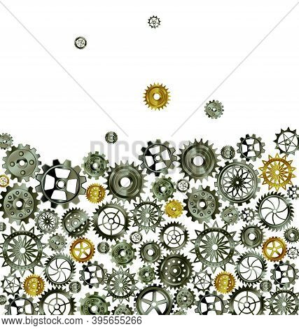 Vector Illustration Dark Metal Background With Gears