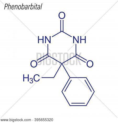 Vector Skeletal Formula Of Phenobarbital. Drug Chemical Molecule