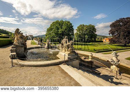 Cascade Fountain In Cesky Krumlov In The South Bohemian District