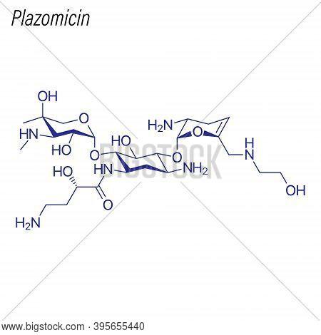 Vector Skeletal Formula Of Plazomicin. Drug Chemical Molecule.