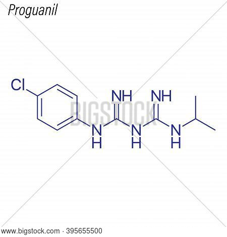 Vector Skeletal Formula Of Proguanil. Drug Chemical Molecule.