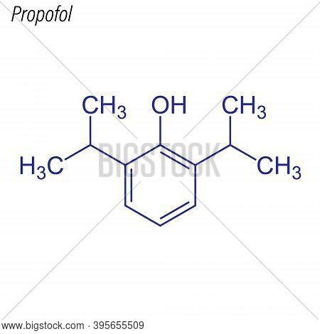 Vector Skeletal Formula Of Propofol. Drug Chemical Molecule.