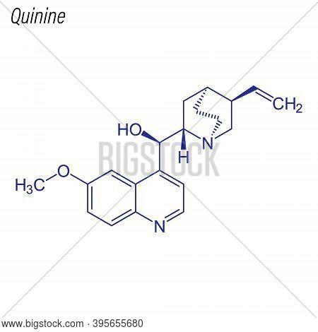 Vector Skeletal Formula Of Quinine. Drug Chemical Molecule.