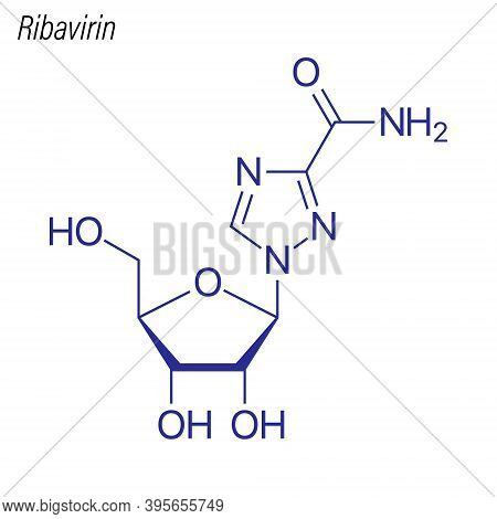 Vector Skeletal Formula Of Ribavirin. Drug Chemical Molecule.
