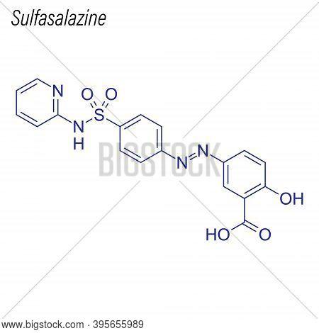 Vector Skeletal Formula Of Sulfasalazine. Drug Chemical Molecule