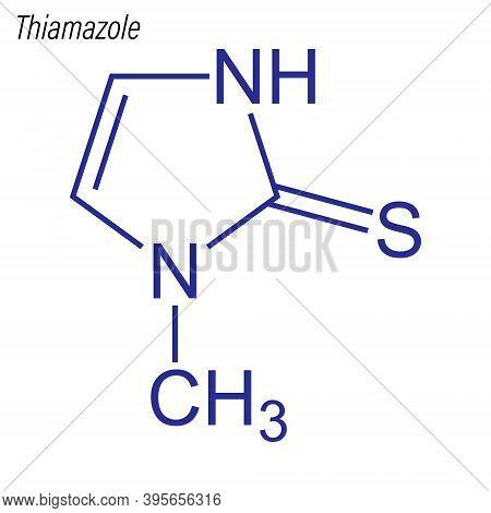 Vector Skeletal Formula Of Thiamazole. Drug Chemical Molecule.