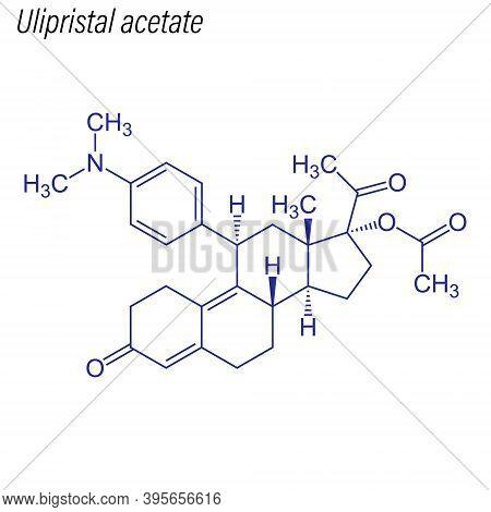 Vector Skeletal Formula Of Ulipristal Acetate. Drug Chemical Mol