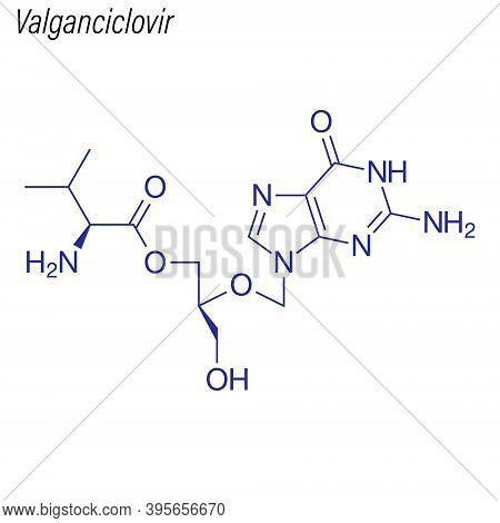 Vector Skeletal Formula Of Valganciclovir. Drug Chemical Molecul