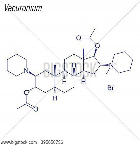 Vector Skeletal Formula Of Vecuronium. Drug Chemical Molecule.