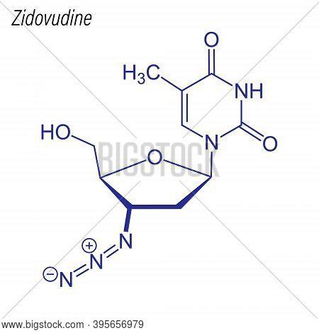 Vector Skeletal Formula Of Zidovudine. Drug Chemical Molecule.