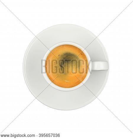 Close Up One White Cup Full  Of Espresso Coffee, On Saucer, Isolated On White Background, Elevated T