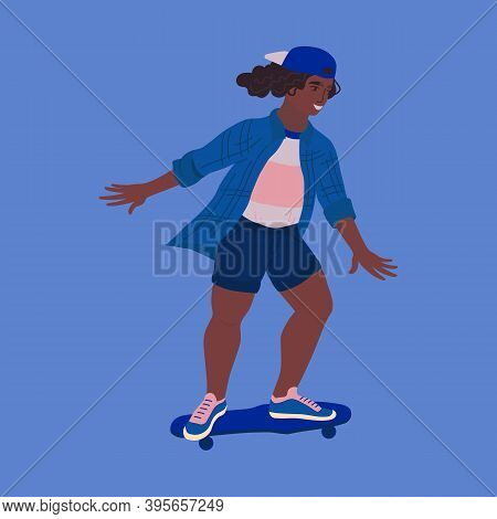 Girl Riding Skate Isolated Vector. Dark Skinned Plump Woman In Male Clothes Doing Skateboarding With