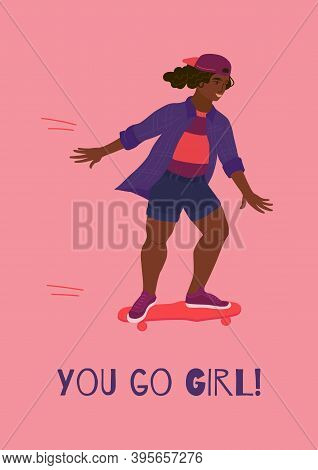 Girl Riding Skate Card Template With Text. Dark Skinned Plump Woman Doing Skateboarding With Smile O