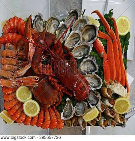 Close Up Large Cold And Raw Seafood Platter To Share, Lobsters, Prawns, Shrimps, Oysters, Clams, Cra